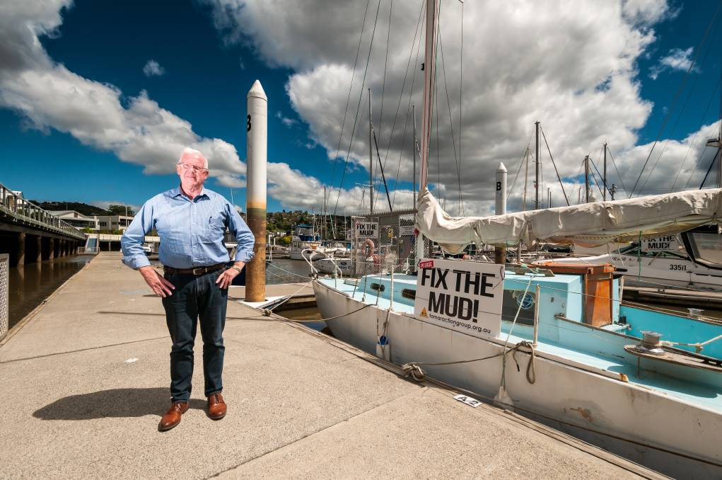 Launceston property developer Errol Stewart has an idea to fix at least one problem with the Tamar River's mud: finding a way to keep the marina functional. Picture: Phillip Biggs