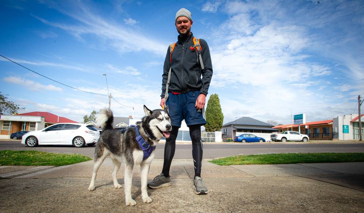 Jordan Taylor and his husky Craig. Picture: Elesa Kurtz